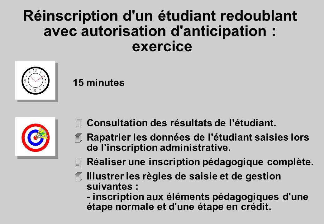 Réinscription d un étudiant redoublant avec autorisation d anticipation : exercice