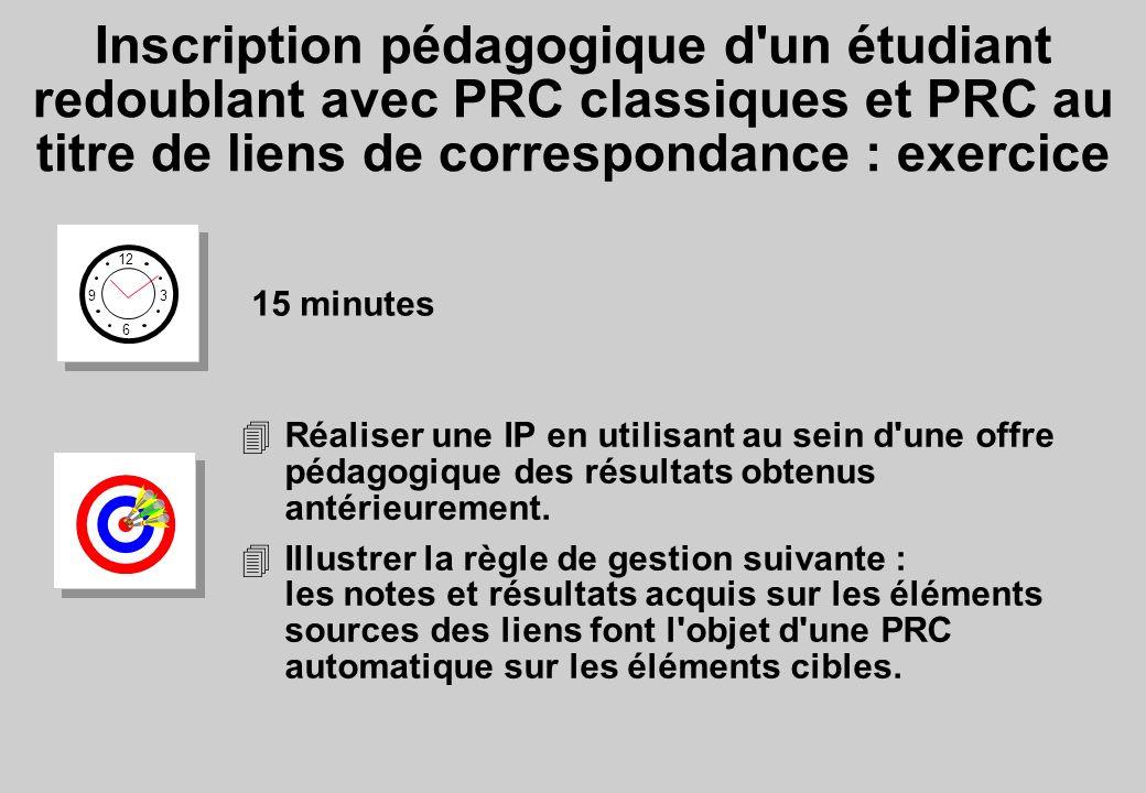 Inscription pédagogique d un étudiant redoublant avec PRC classiques et PRC au titre de liens de correspondance : exercice