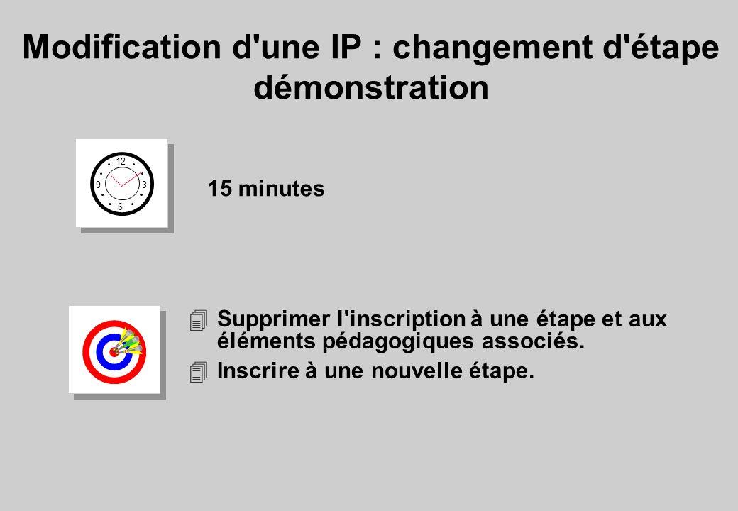 Modification d une IP : changement d étape démonstration