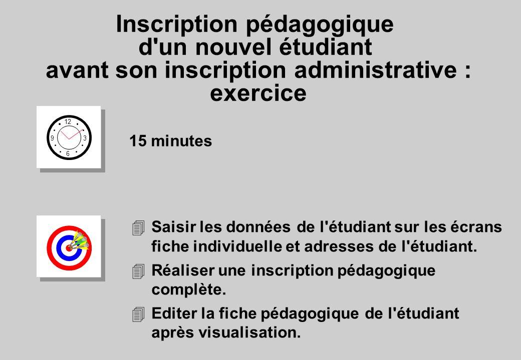 Inscription pédagogique d un nouvel étudiant avant son inscription administrative : exercice