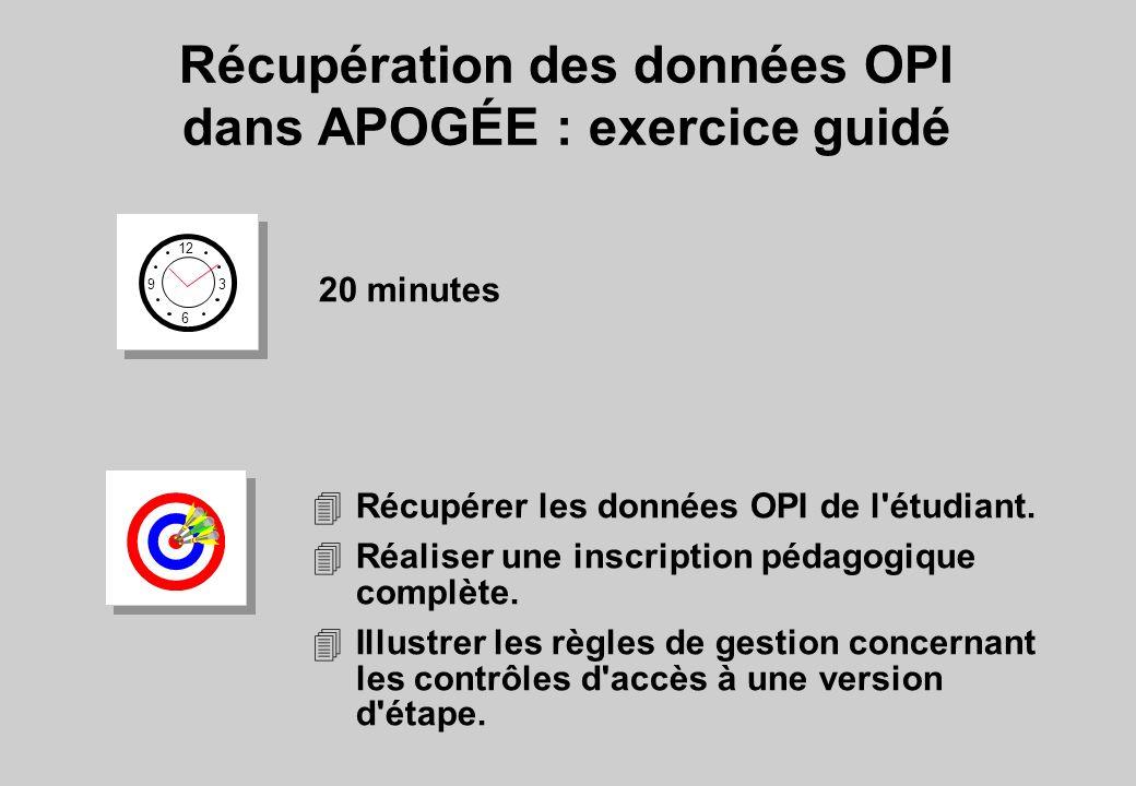 Récupération des données OPI dans APOGÉE : exercice guidé