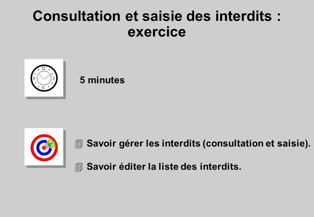 Consultation et saisie des interdits : exercice
