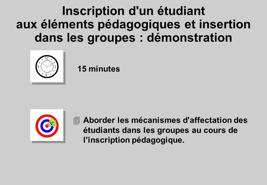 Inscription d un étudiant aux éléments pédagogiques et insertion dans les groupes : démonstration