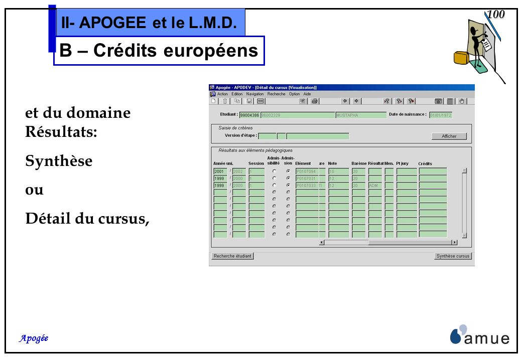 B – Crédits européens II- APOGEE et le L.M.D. et du domaine Résultats: