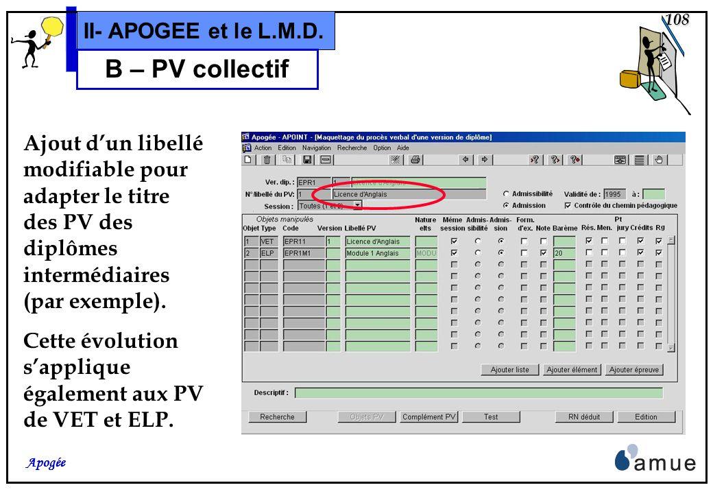 B – PV collectif II- APOGEE et le L.M.D.