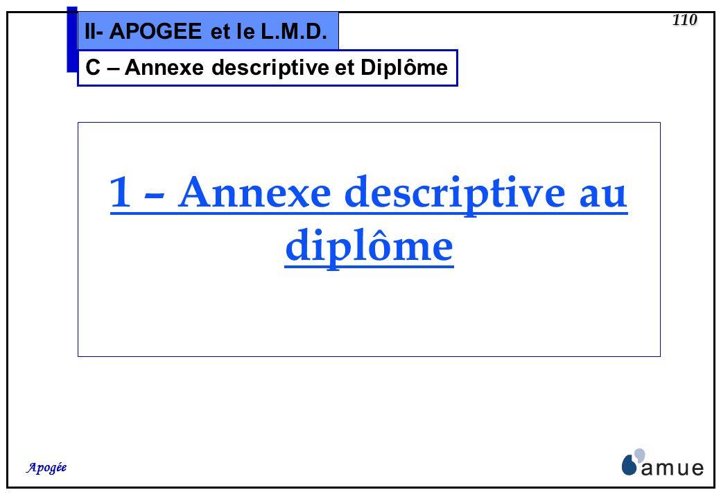 C – Annexe descriptive et Diplôme 1 – Annexe descriptive au diplôme