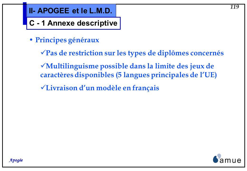 II- APOGEE et le L.M.D. C - 1 Annexe descriptive Principes généraux