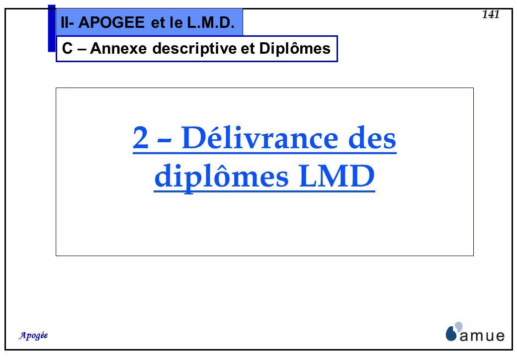 C – Annexe descriptive et Diplômes 2 – Délivrance des diplômes LMD