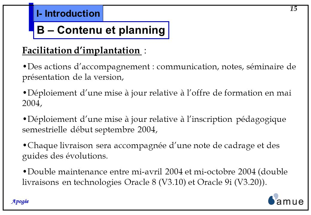 B – Contenu et planning I- Introduction Facilitation d'implantation :
