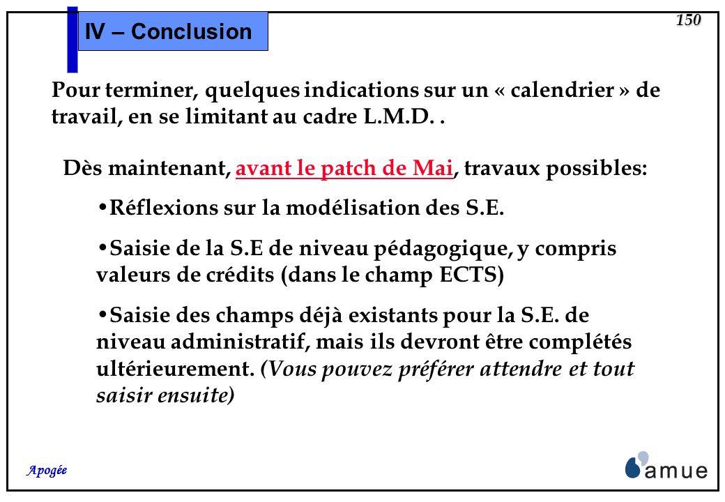 IV – Conclusion Pour terminer, quelques indications sur un « calendrier » de travail, en se limitant au cadre L.M.D. .