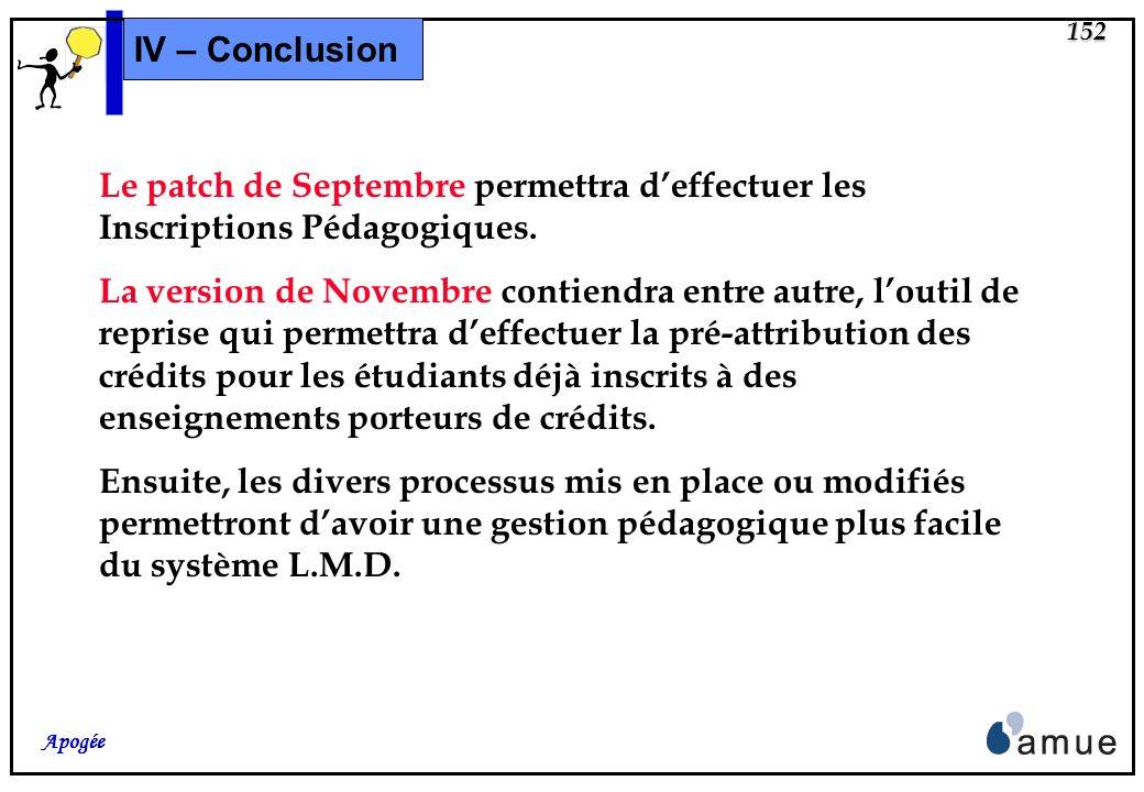 IV – Conclusion Le patch de Septembre permettra d'effectuer les Inscriptions Pédagogiques.