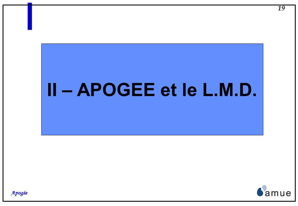 II – APOGEE et le L.M.D.