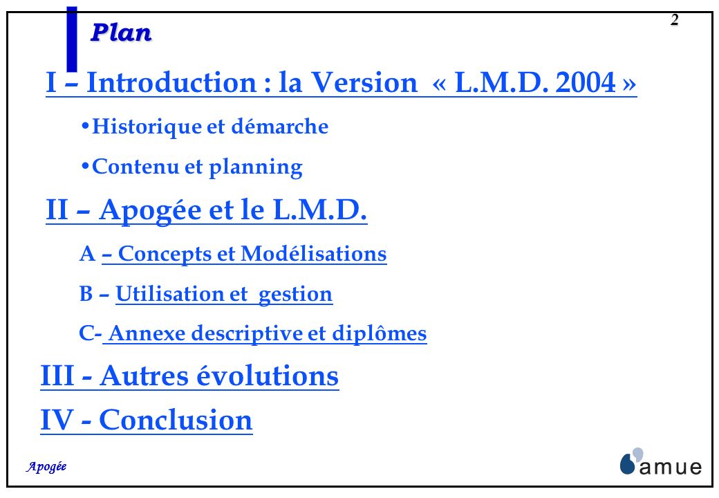 I – Introduction : la Version « L.M.D. 2004 »