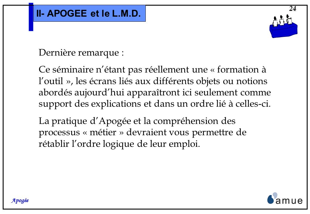 II- APOGEE et le L.M.D. Dernière remarque :