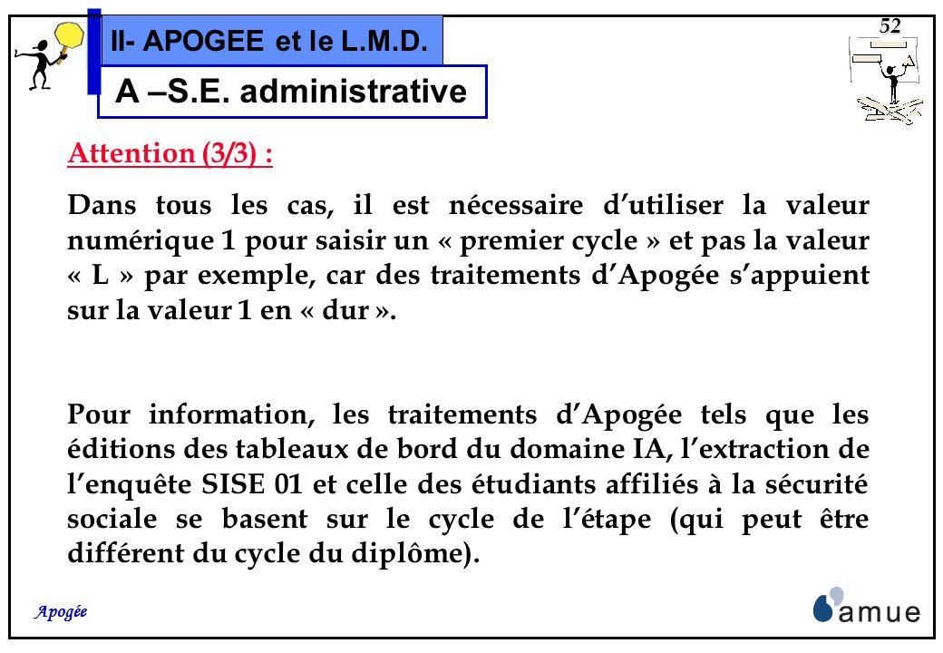 A –S.E. administrative II- APOGEE et le L.M.D. Attention (3/3) :