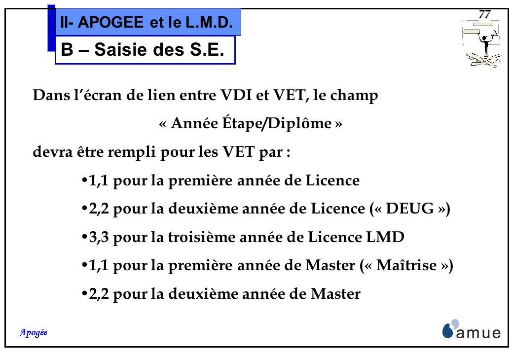« Année Étape/Diplôme »