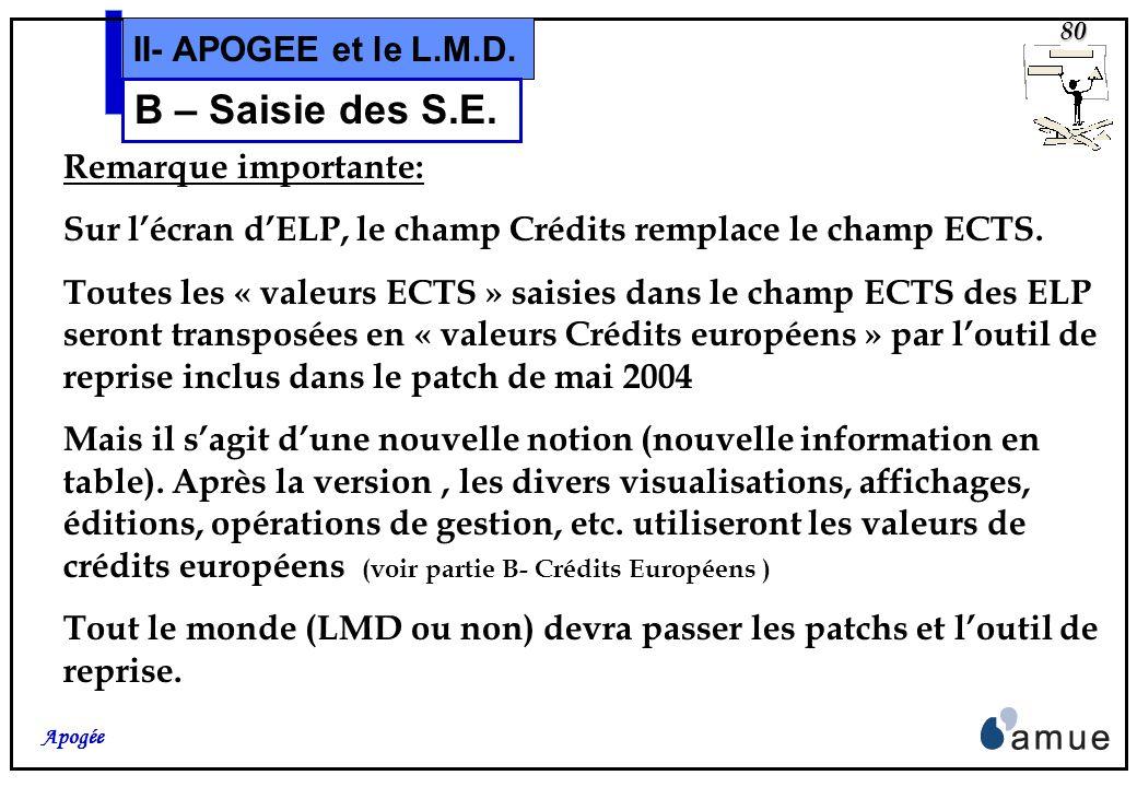 B – Saisie des S.E. II- APOGEE et le L.M.D. Remarque importante: