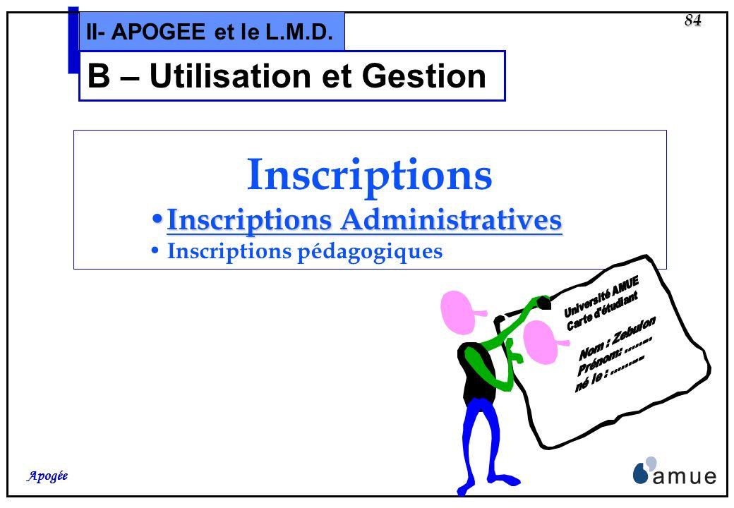 B – Utilisation et Gestion
