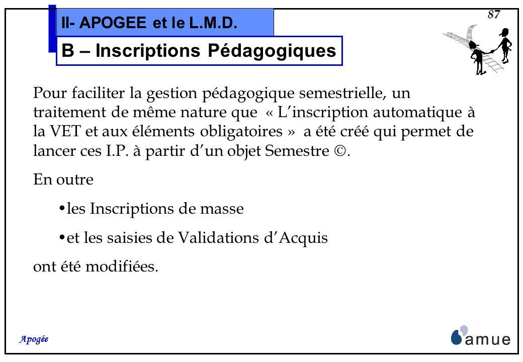 B – Inscriptions Pédagogiques