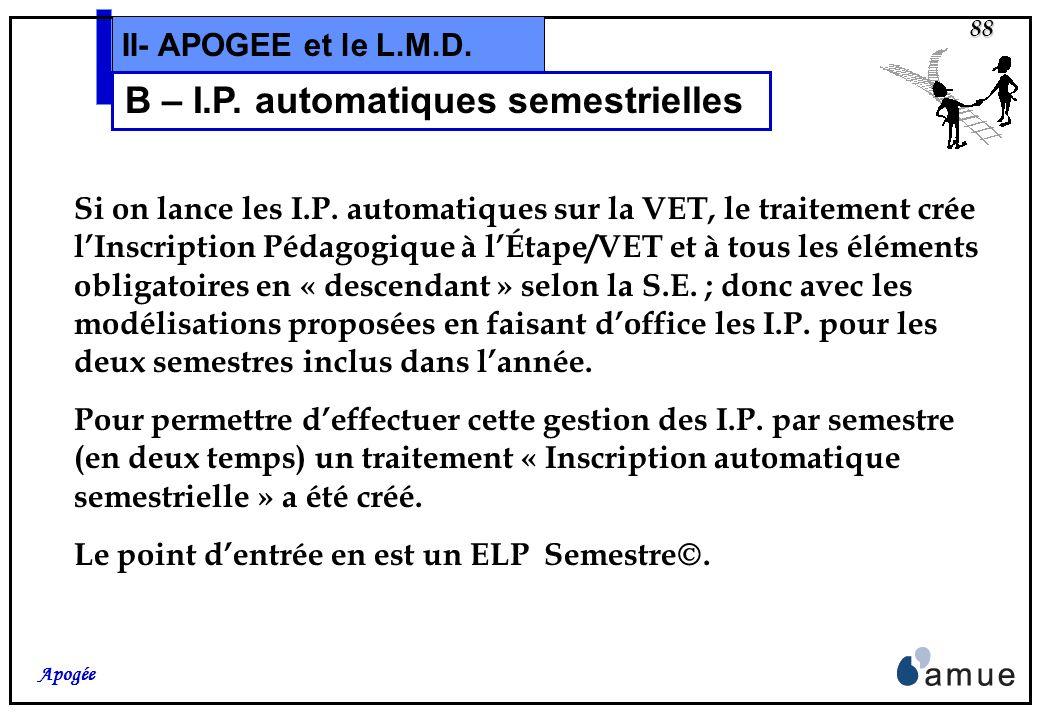 B – I.P. automatiques semestrielles