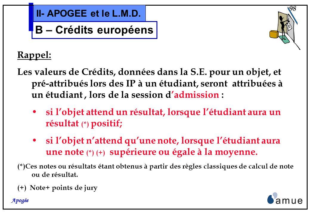 B – Crédits européens II- APOGEE et le L.M.D. Rappel: