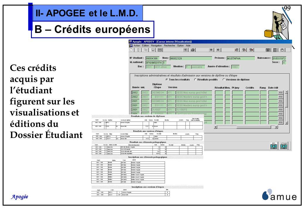 B – Crédits européens II- APOGEE et le L.M.D.
