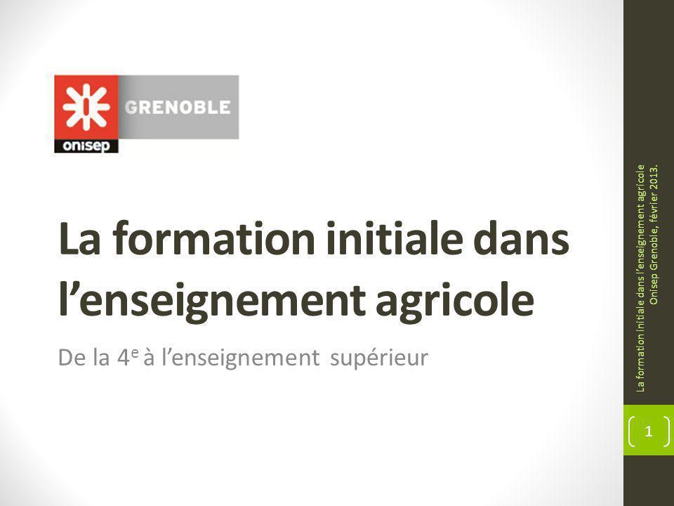 La formation initiale dans l'enseignement agricole