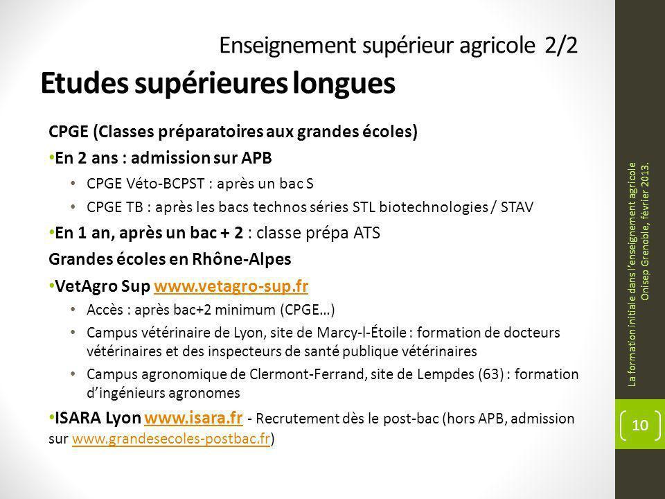Enseignement supérieur agricole 2/2 Etudes supérieures longues