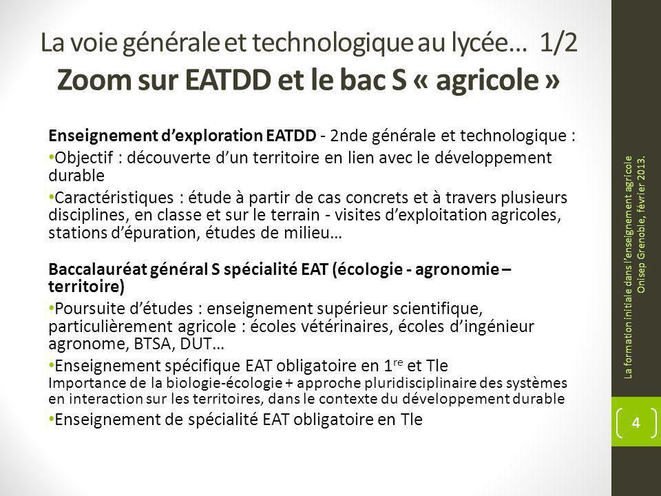 La voie générale et technologique au lycée… 1/2 Zoom sur EATDD et le bac S « agricole »
