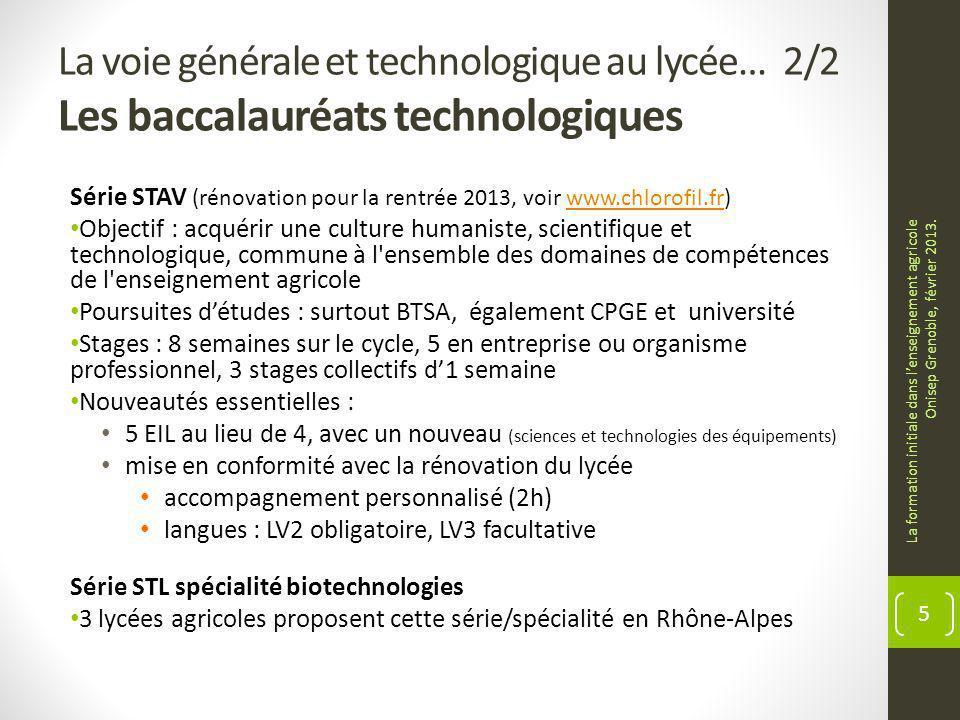 La voie générale et technologique au lycée… 2/2 Les baccalauréats technologiques