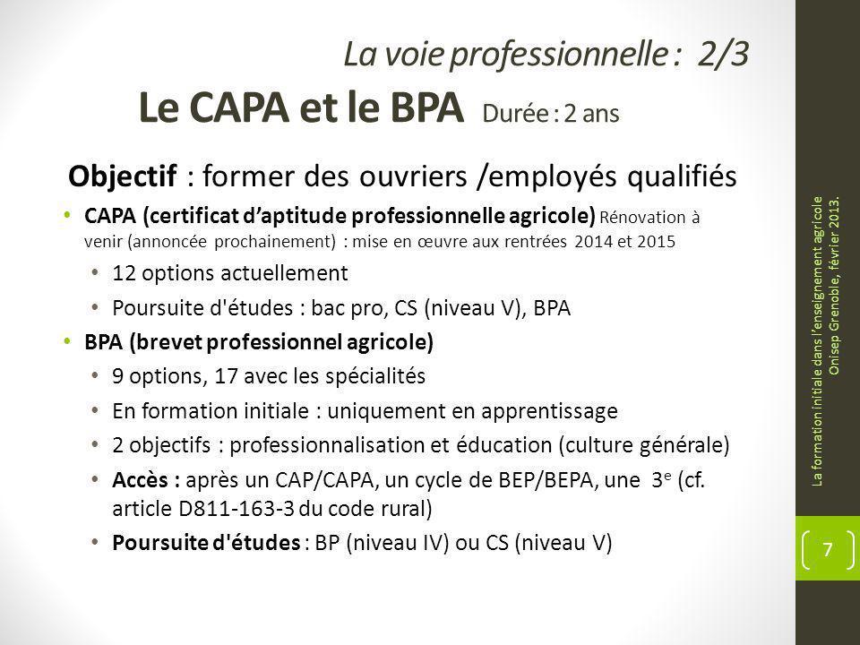 La voie professionnelle : 2/3 Le CAPA et le BPA Durée : 2 ans