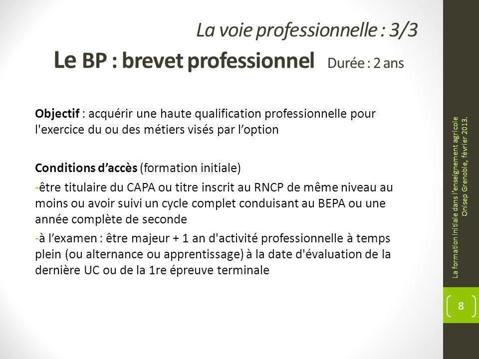 La voie professionnelle : 3/3 Le BP : brevet professionnel Durée : 2 ans