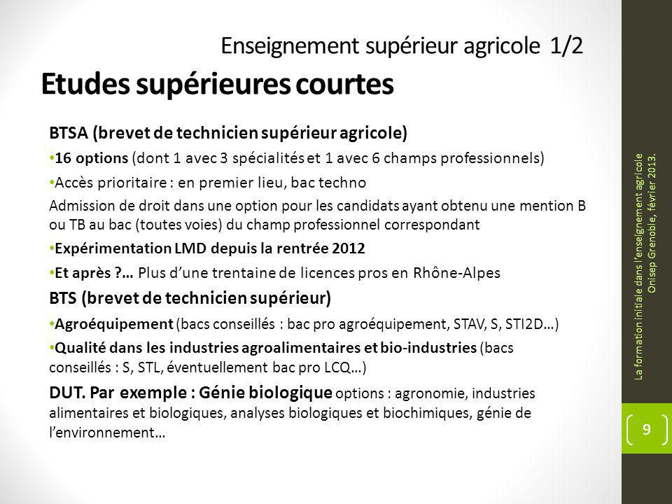 Enseignement supérieur agricole 1/2 Etudes supérieures courtes