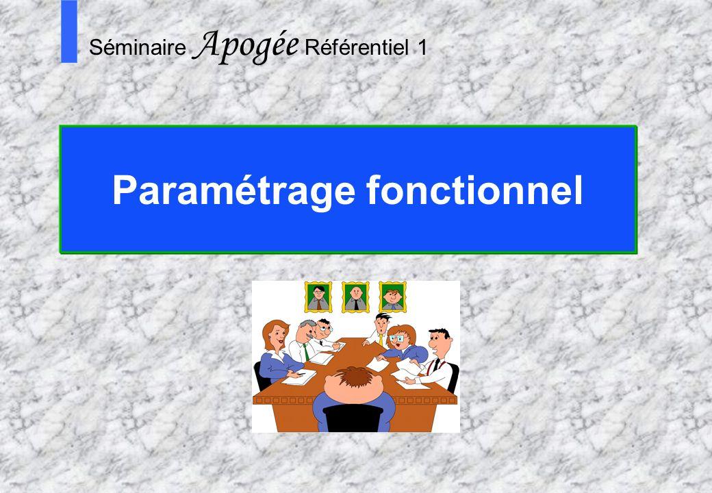 Paramétrage fonctionnel