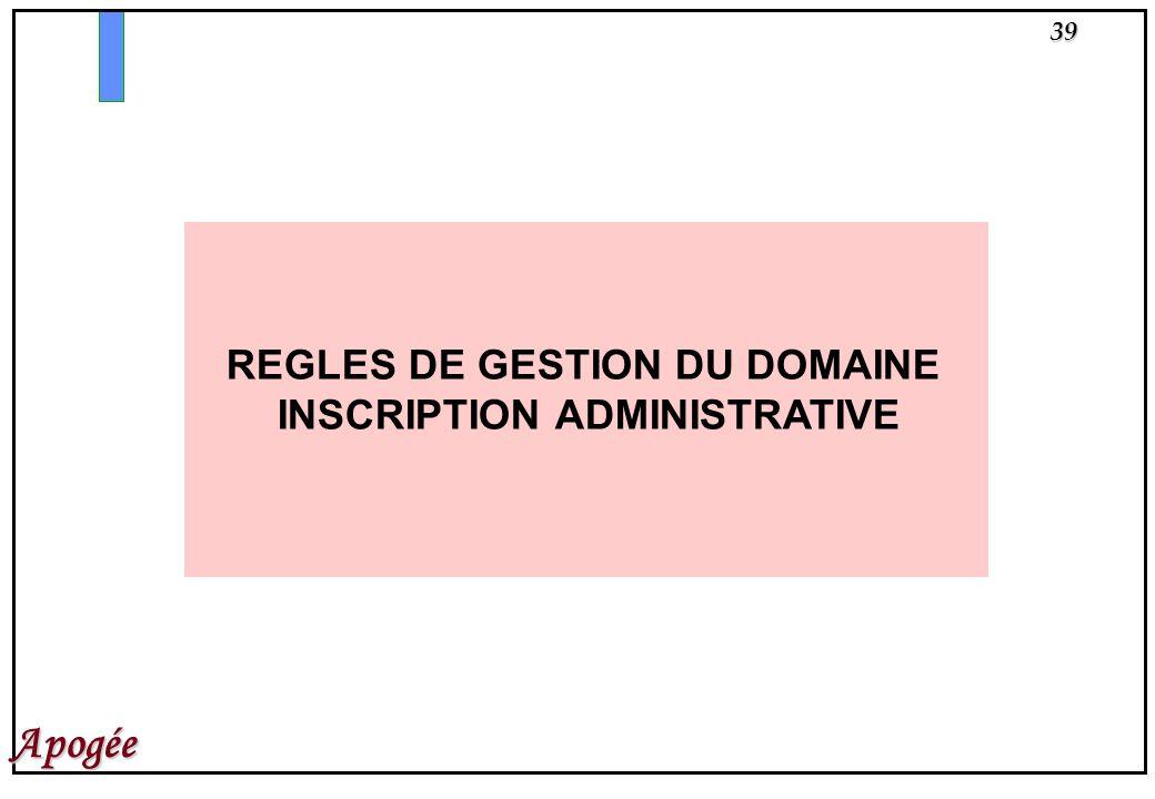 REGLES DE GESTION DU DOMAINE INSCRIPTION ADMINISTRATIVE
