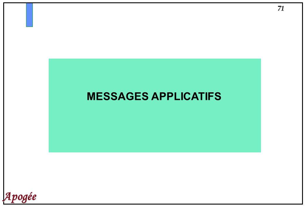 MESSAGES APPLICATIFS