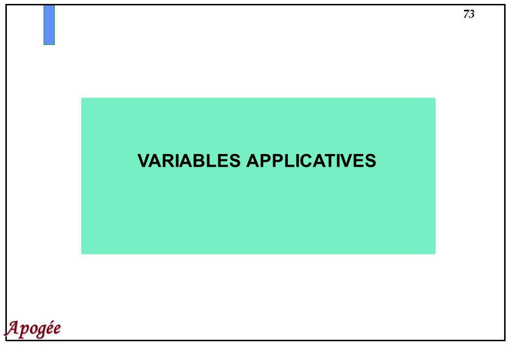 VARIABLES APPLICATIVES