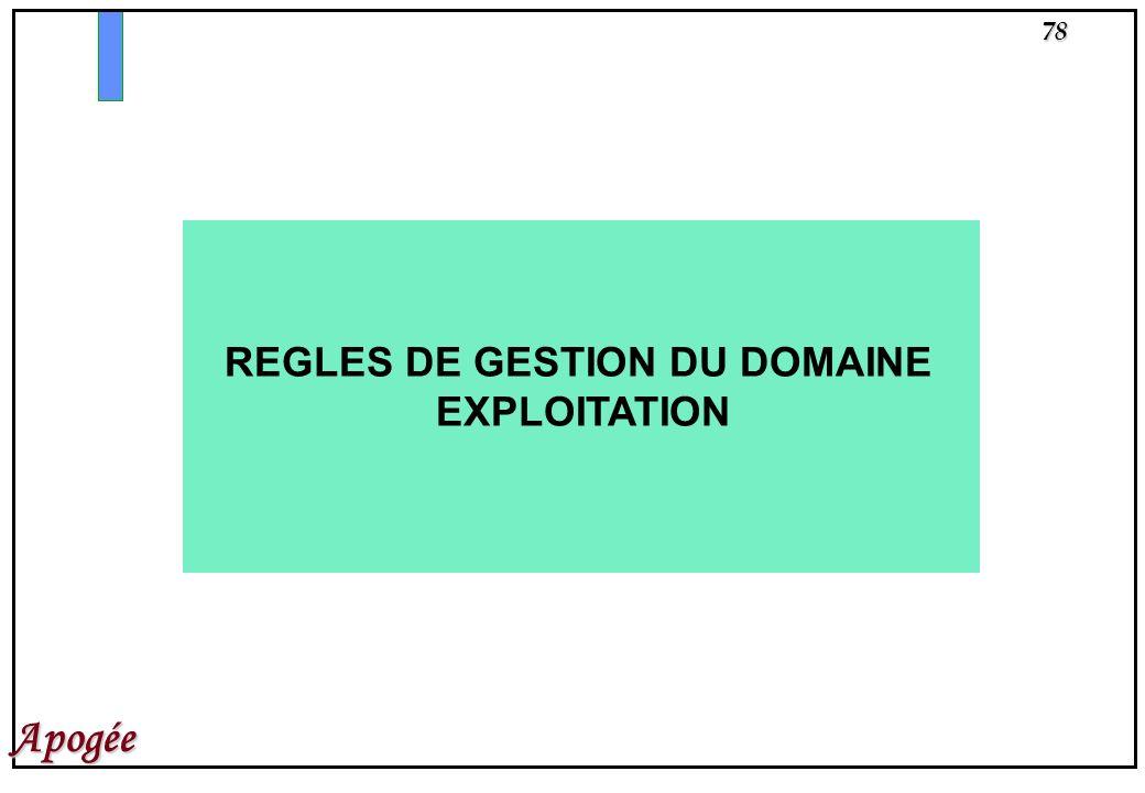 REGLES DE GESTION DU DOMAINE