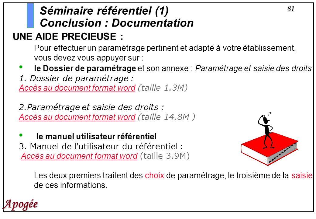 Séminaire référentiel (1) Conclusion : Documentation