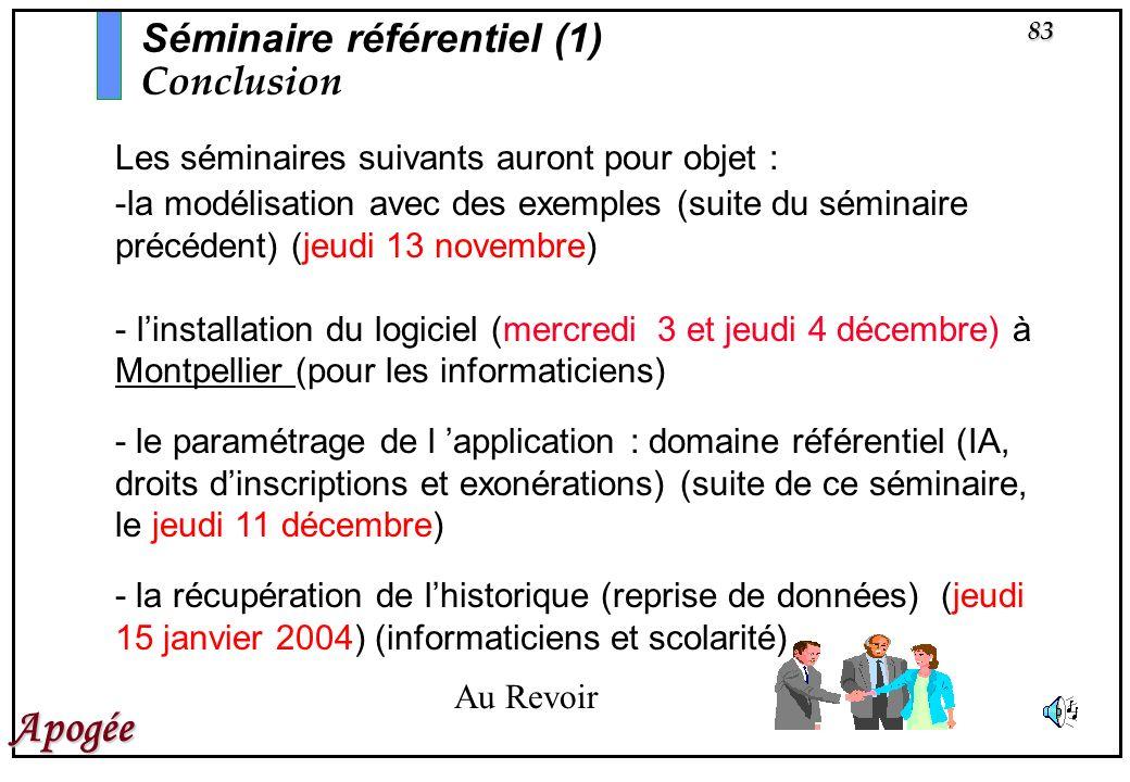 Séminaire référentiel (1) Conclusion