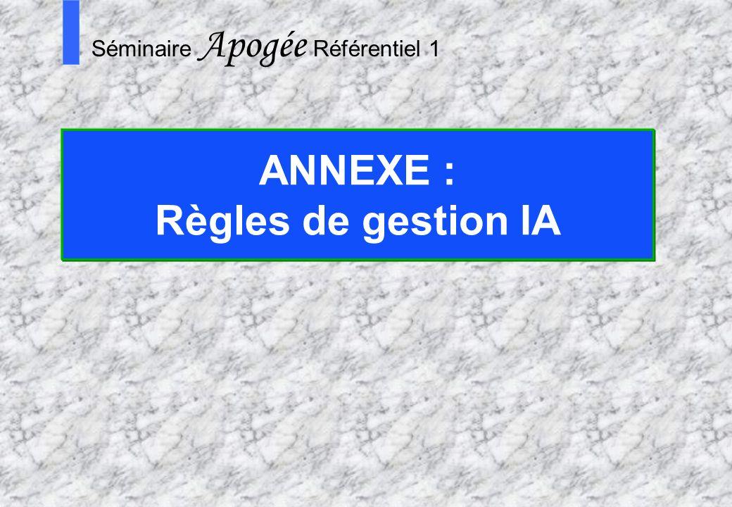 ANNEXE : Règles de gestion IA