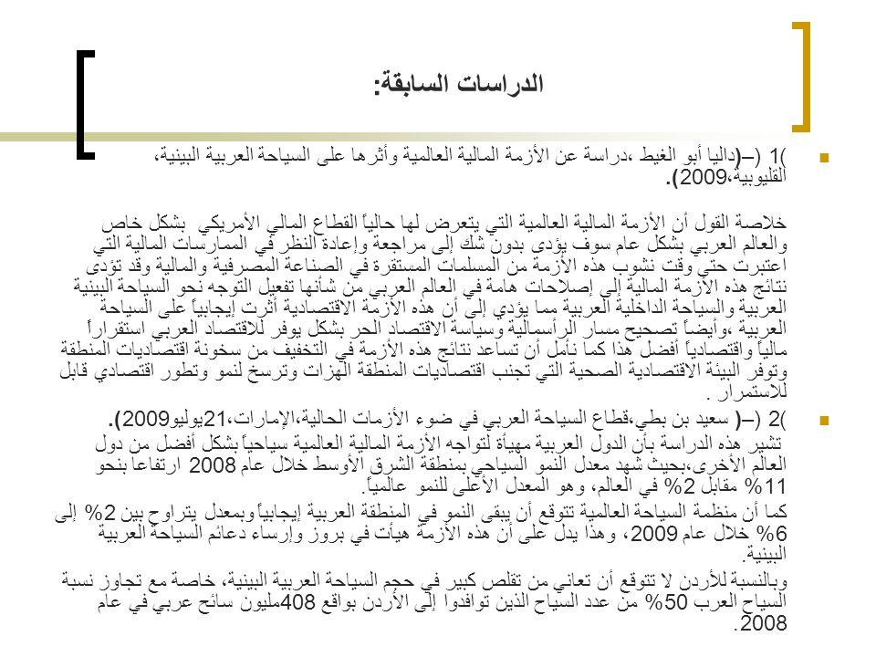 الدراسات السابقة: (1) –(داليا أبو الغيط ،دراسة عن الأزمة المالية العالمية وأثرها على السياحة العربية البينية، القليوبية،2009).