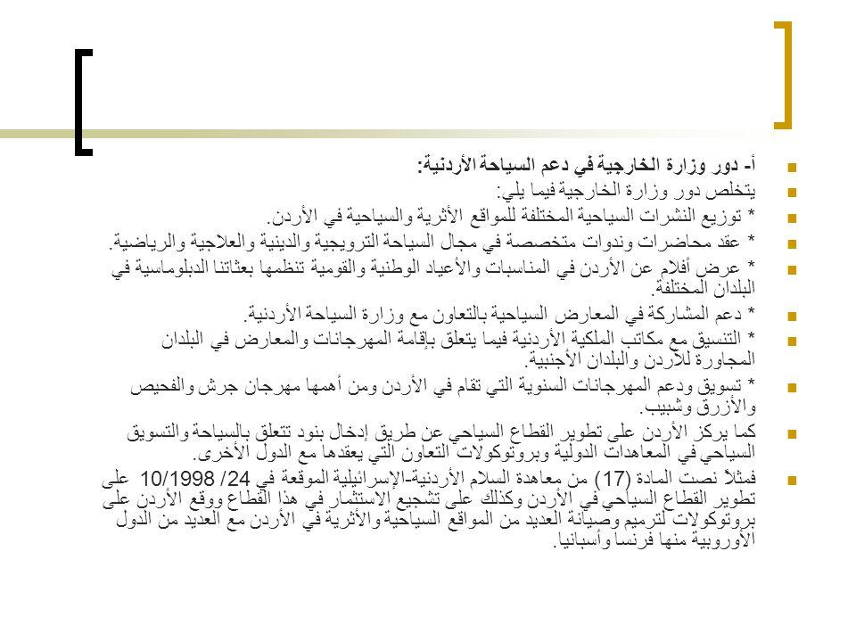 أ- دور وزارة الخارجية في دعم السياحة الأردنية: