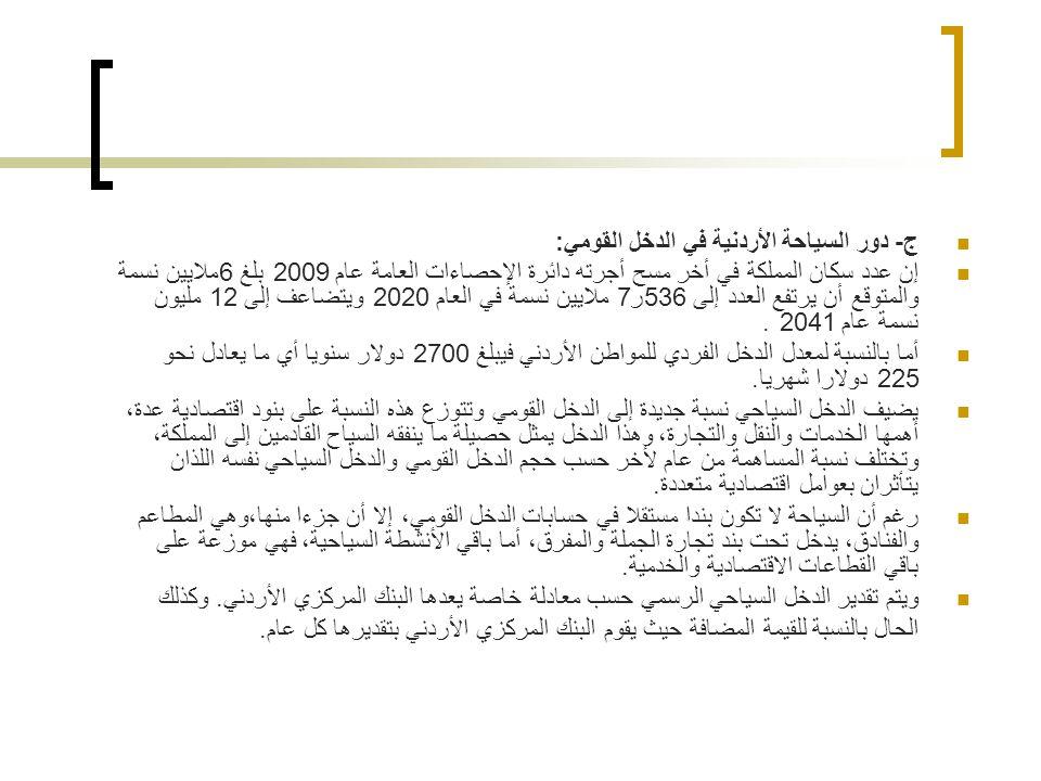 ج- دور السياحة الأردنية في الدخل القومي: