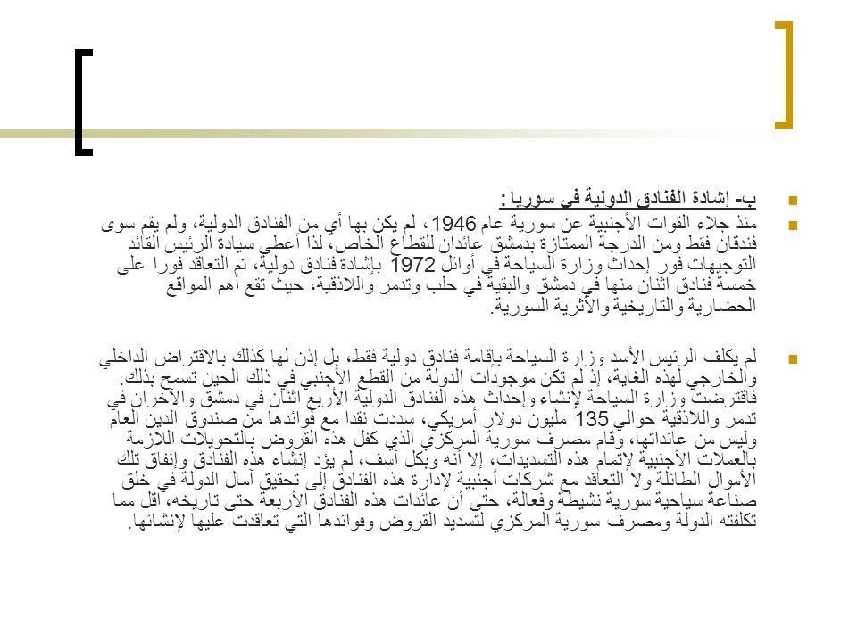 ب- إشادة الفنادق الدولية في سوريا :