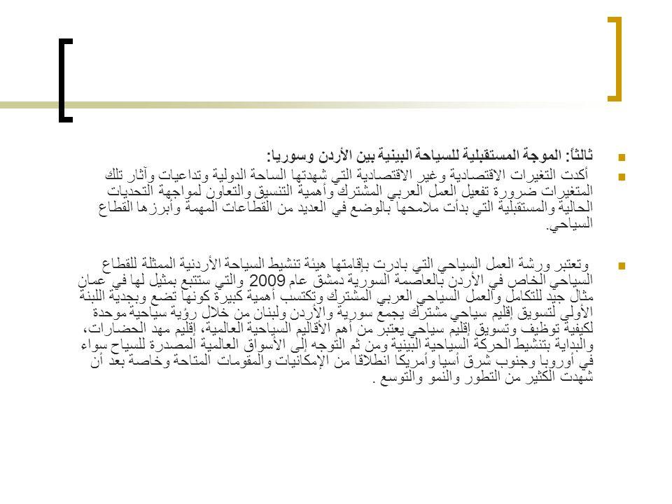 ثالثاً: الموجة المستقبلية للسياحة البينية بين الأردن وسوريا:
