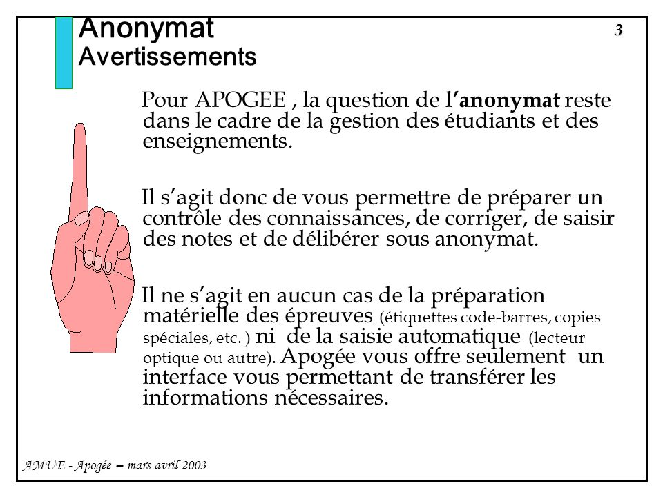 Anonymat Avertissements