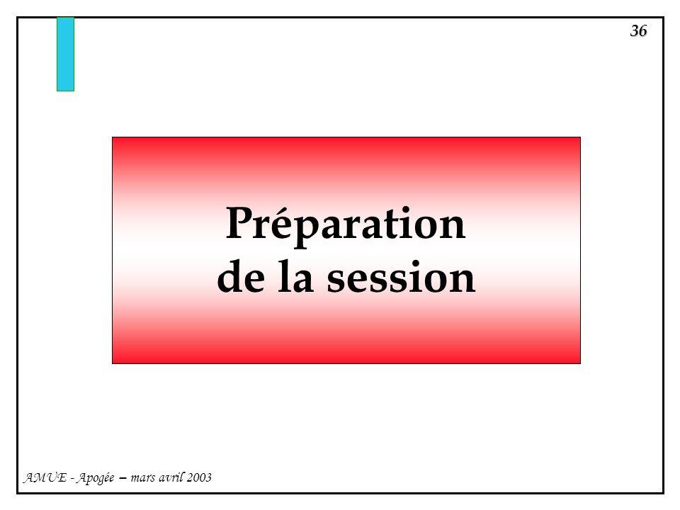 Préparation de la session