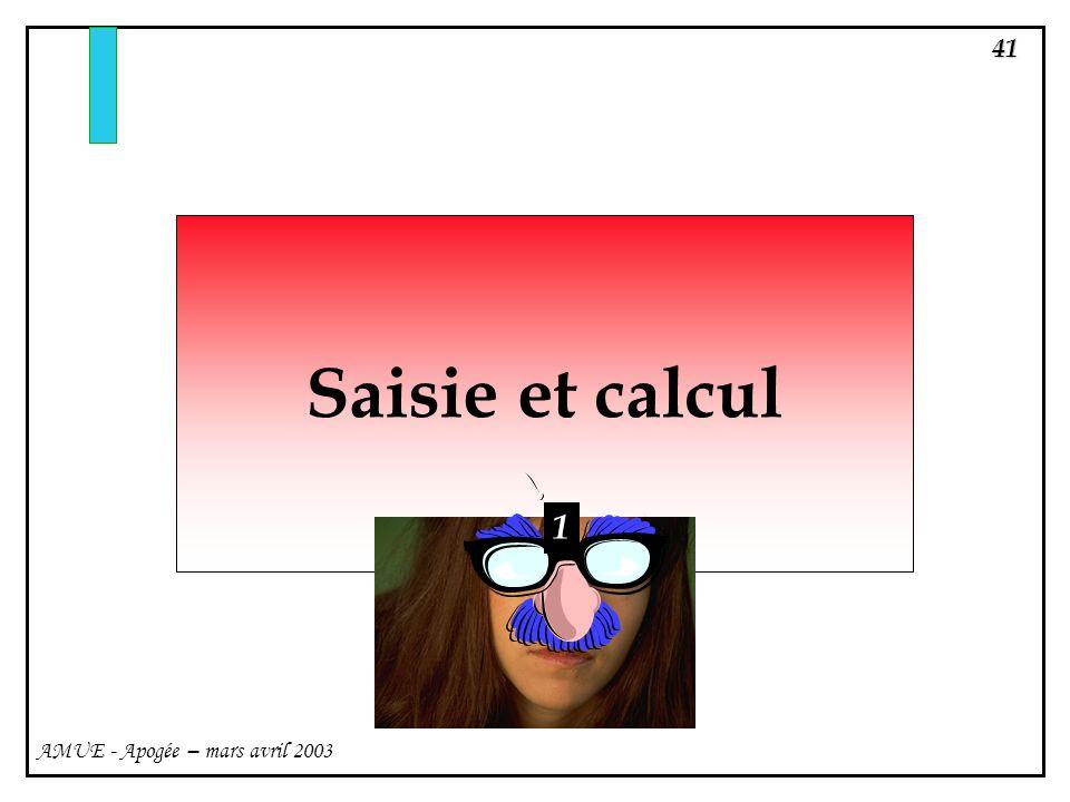 Saisie et calcul 1