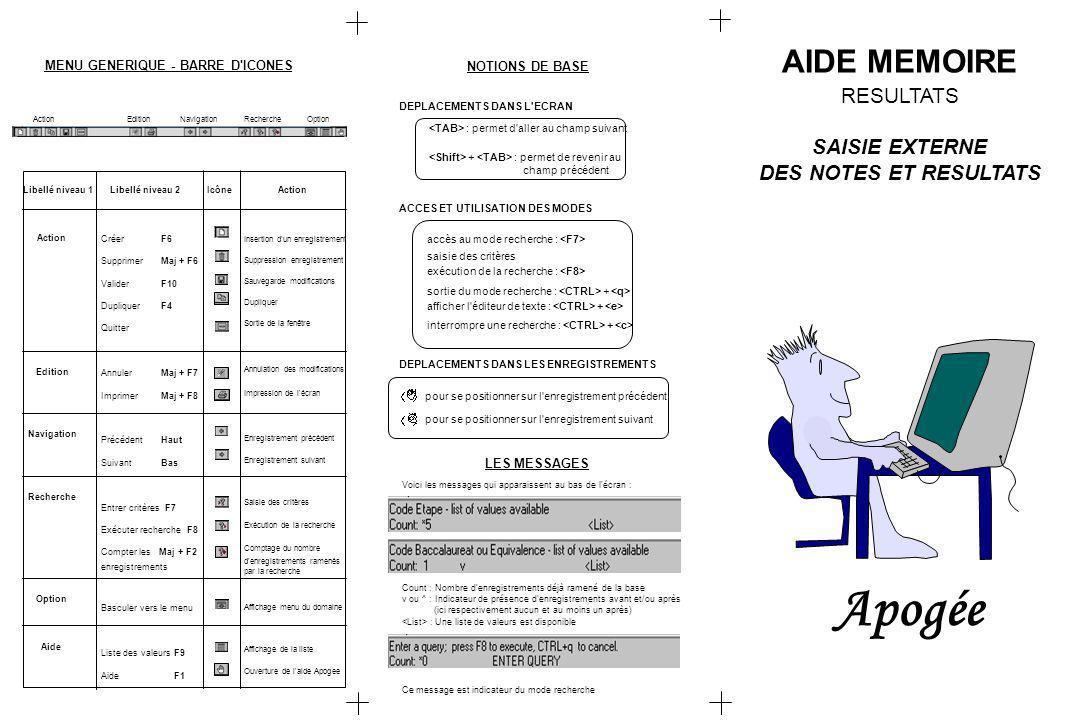 Apogée AIDE MEMOIRE RESULTATS SAISIE EXTERNE DES NOTES ET RESULTATS